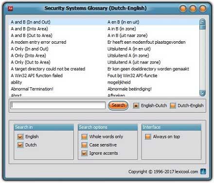 Lessico dei sistemi dei sicurezza (inglese <-> olandese)