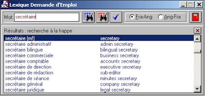 Interfaccia utente del Dizionario francese inglese domanda di lavoro